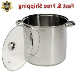 Stockpot 16 Quart Stainless Steel Encapsulated Base Tempered