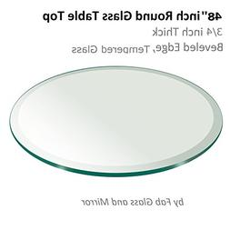 "48"" Inch Round Glass Table Top 3/4"" Thick Tempered Beveled E"