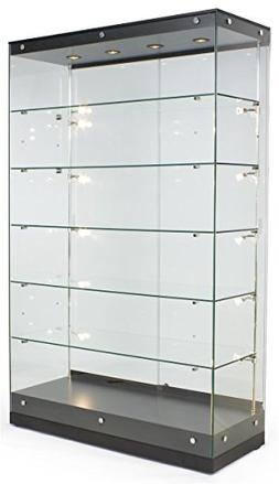 Displays2go Tall Illuminated Glass Showcases, Tempered Glass
