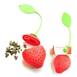 Tea Leaf Filter reuseable Silicone Lovely Red Strawberry cha