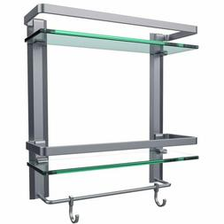 Vdomus Tempered Glass Bathroom Shelf, 2 Tier Shelf with Towe