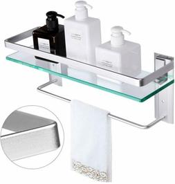 Vdomus Tempered Glass Bathroom Shelf with Towel Bar Wall Mou