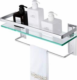 Tempered Glass Bathroom Shelf with Towel Bar Wall Mounted St