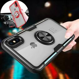 Tempered Glass Hybrid Case Cover With Ring Holder For iPhone