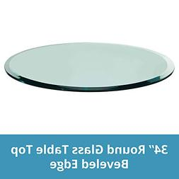 "TroySys Tempered Glass Table Top, 1/4"" Thick, Beveled Edge,"