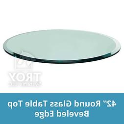 "TroySys Tempered Glass Table Top, 1/2"" Thick, Beveled Edge,"