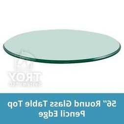 TroySys Tempered Glass Table Top, 3/8 Inch Thick, Pencil Pol