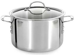 Calphalon Tri Ply Stainless Steel 6 Qt Stock Pot w/ Tempered