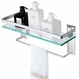 Vdomus Tempered Glass Bathroom Shelf with Towel Bar Wall Mou