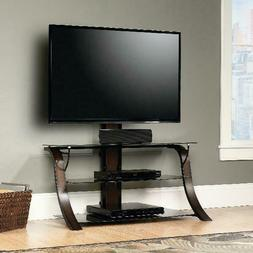 Sauder Veer Panel TV Stand With Mount And Safety-Tempered Gl