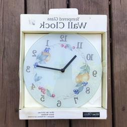 Vintage Corelle Abundance Tempered Glass Wall Clock Fruit Bl