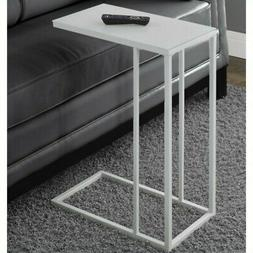 Monarch Specialties White Metal 18x10 Accent Table w/ Froste