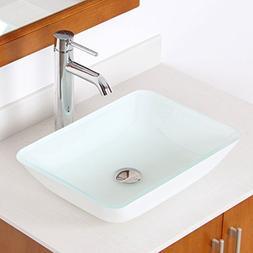 ELITE White Rectangle Tempered White Glass Bathroom Vessel S