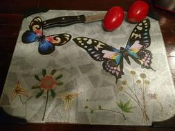 Wildflowers & Butterflies New Large Tempered Glass Cutting B