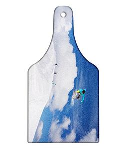 Ambesonne Winter Cutting Board, Flying Snowboarder on The Mo