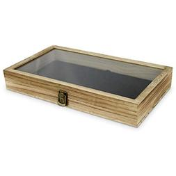 Mooca Wooden Jewelry Display case with Tempered Glass Top Li