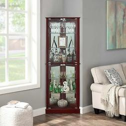 Cherry/ Walnut Woody Lighted Corner Curio Cabinet Tempered G